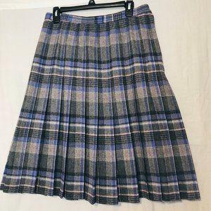 Vintage Pendelton Sz(16) Plaid Pleated Midi Skirt